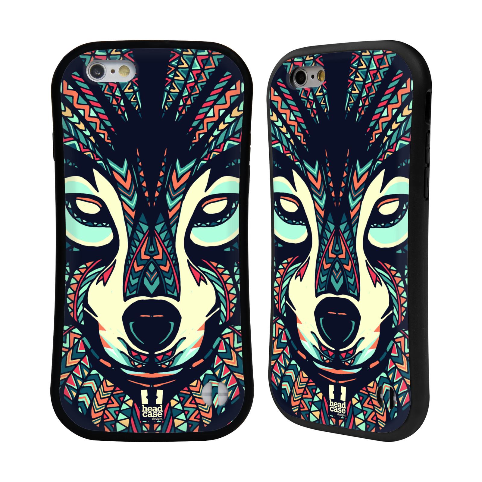 HEAD CASE silikon/plast odolný obal na mobil Apple Iphone 6/6S vzor Aztécký motiv zvíře 3 vlk