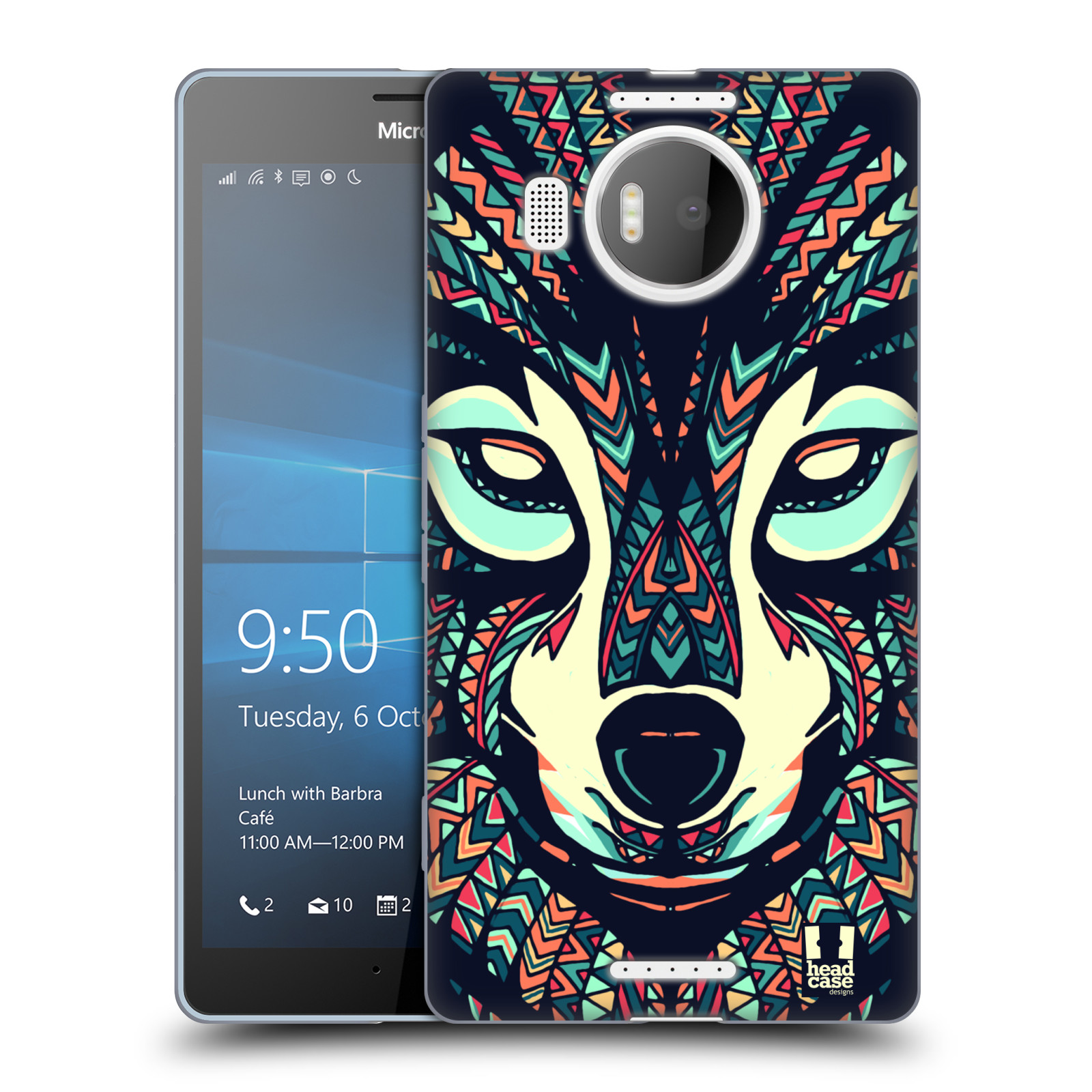 HEAD CASE silikonový obal na mobil NOKIA, MICROSOFT LUMIA 950 XL / LUMIA 950 XL DUAL SIM vzor Aztécký motiv zvíře 3 vlk