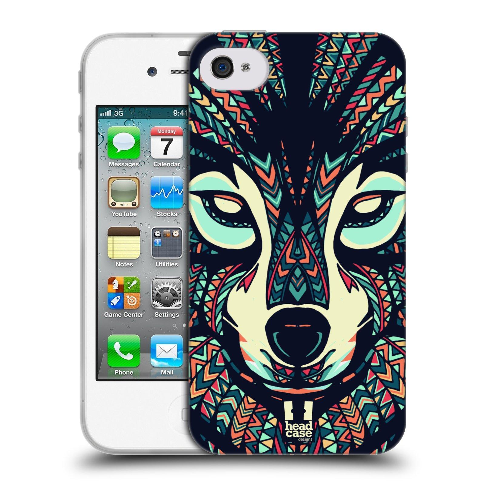 HEAD CASE silikonový obal na mobil Apple Iphone 4/4S vzor Aztécký motiv zvíře 3 vlk