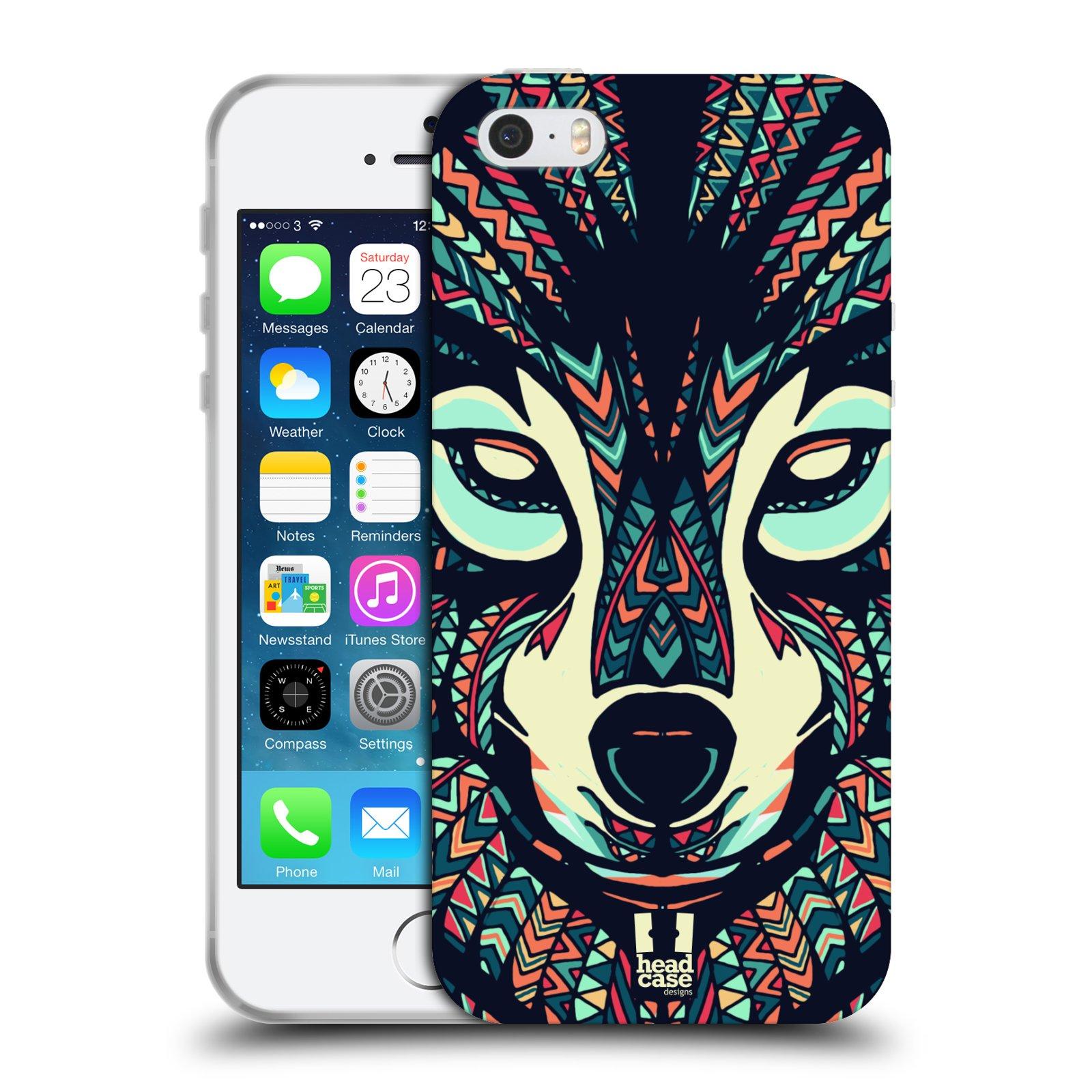 HEAD CASE silikonový obal na mobil Apple Iphone 5/5S vzor Aztécký motiv zvíře 3 vlk