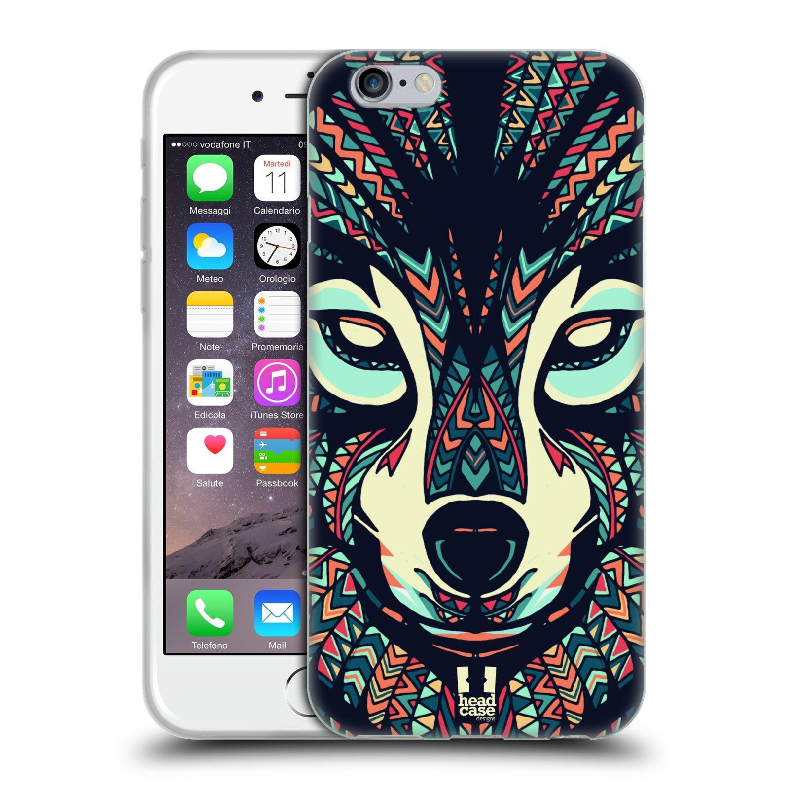 HEAD CASE silikonový obal na mobil Apple Iphone 6/6S vzor Aztécký motiv zvíře 3 vlk