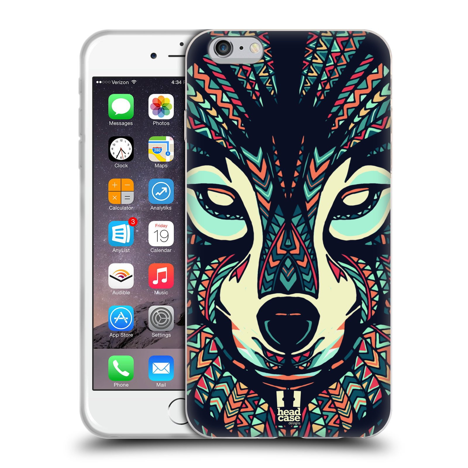 HEAD CASE silikonový obal na mobil Apple Iphone 6 PLUS/ 6S PLUS vzor Aztécký motiv zvíře 3 vlk