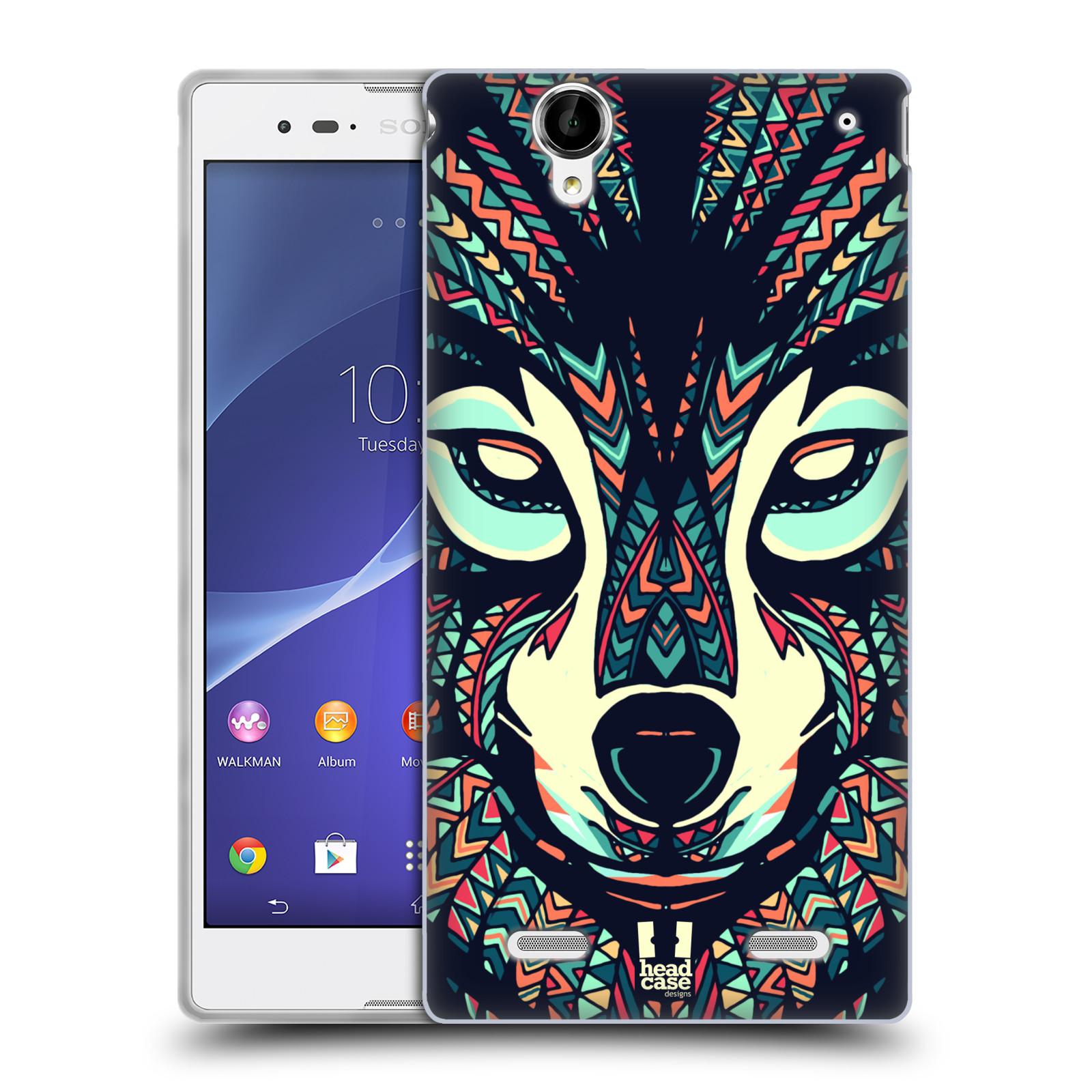 HEAD CASE silikonový obal na mobil Sony Xperia T2 Ultra/T2 Ultra DUAL SIM vzor Aztécký motiv zvíře 3 vlk