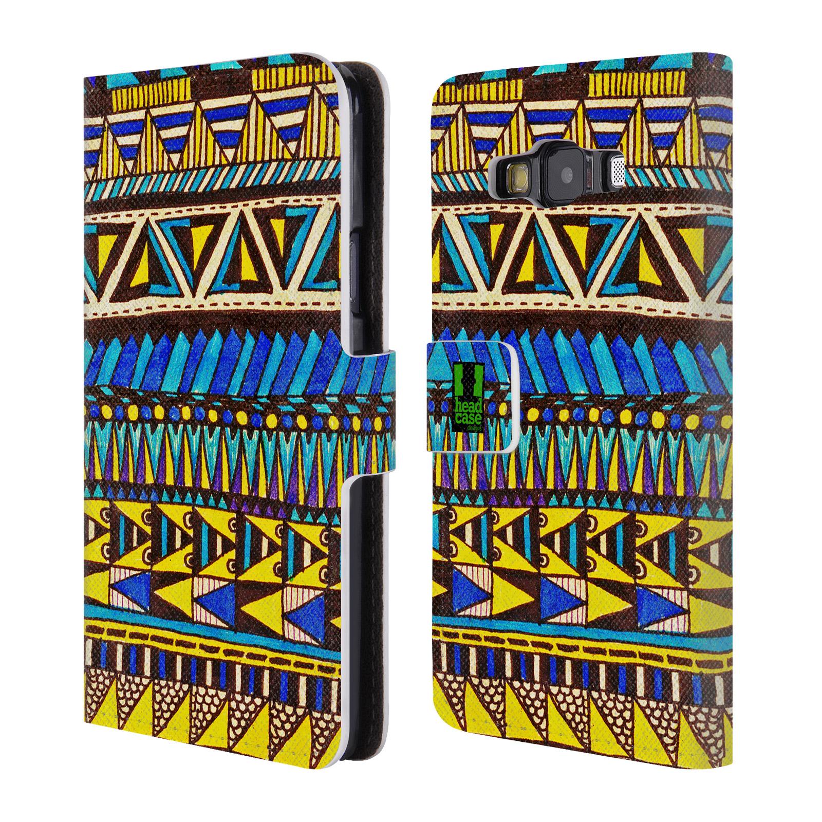 HEAD CASE Flipové pouzdro pro mobil Samsung Galaxy A3 Barevná aztécká čmáranice modrá
