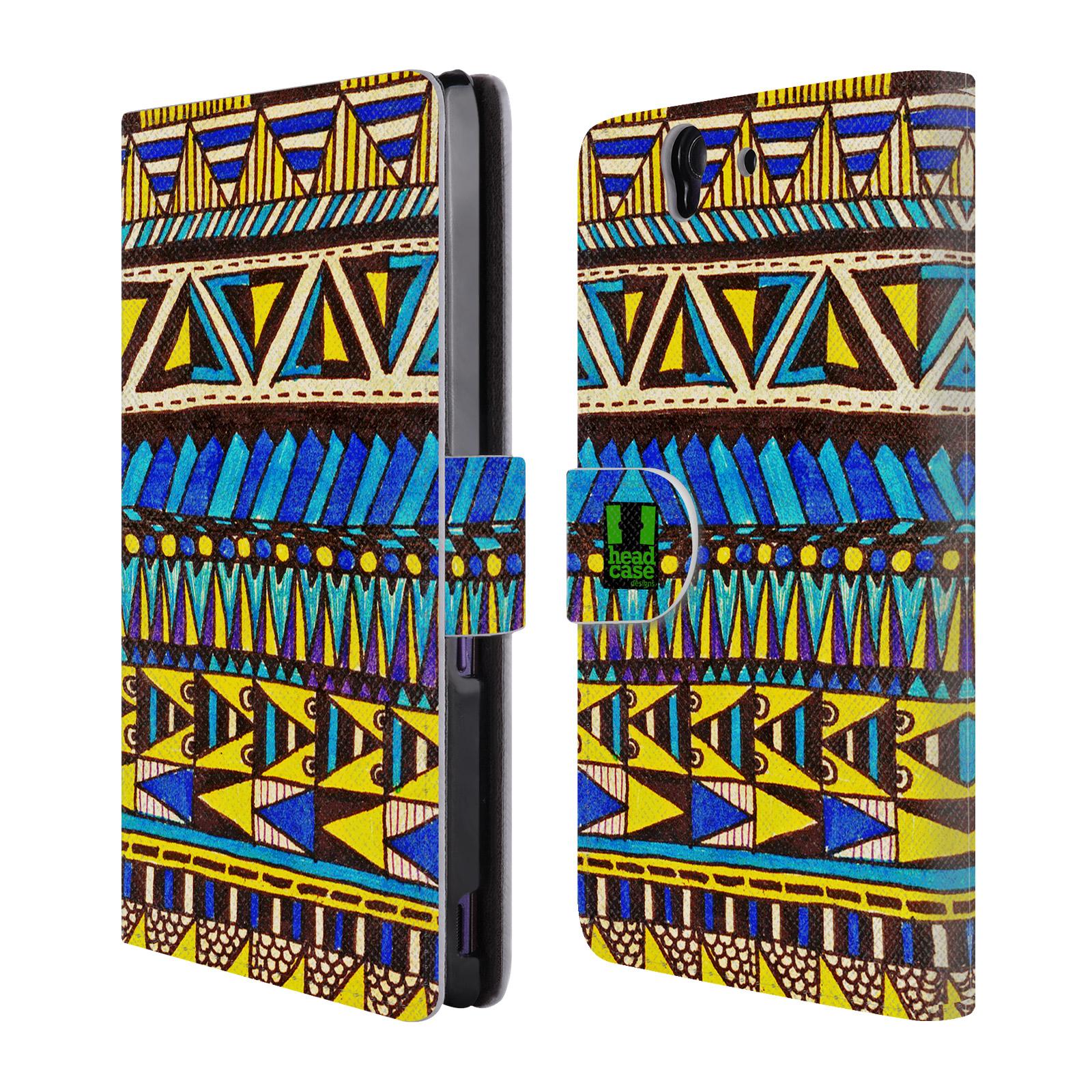 HEAD CASE Flipové pouzdro pro mobil SONY XPERIA Z (C6603) Barevná aztécká čmáranice modrá