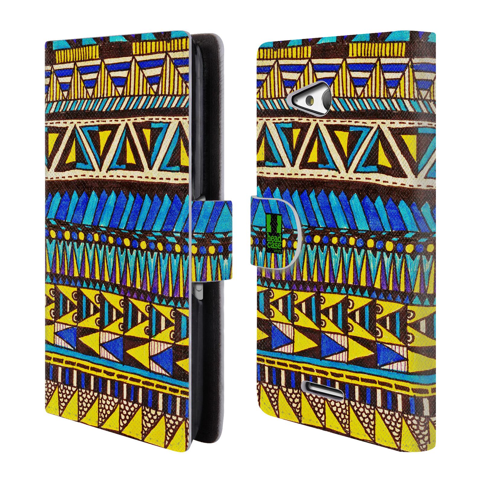HEAD CASE Flipové pouzdro pro mobil SONY XPERIA E4g Barevná aztécká čmáranice modrá