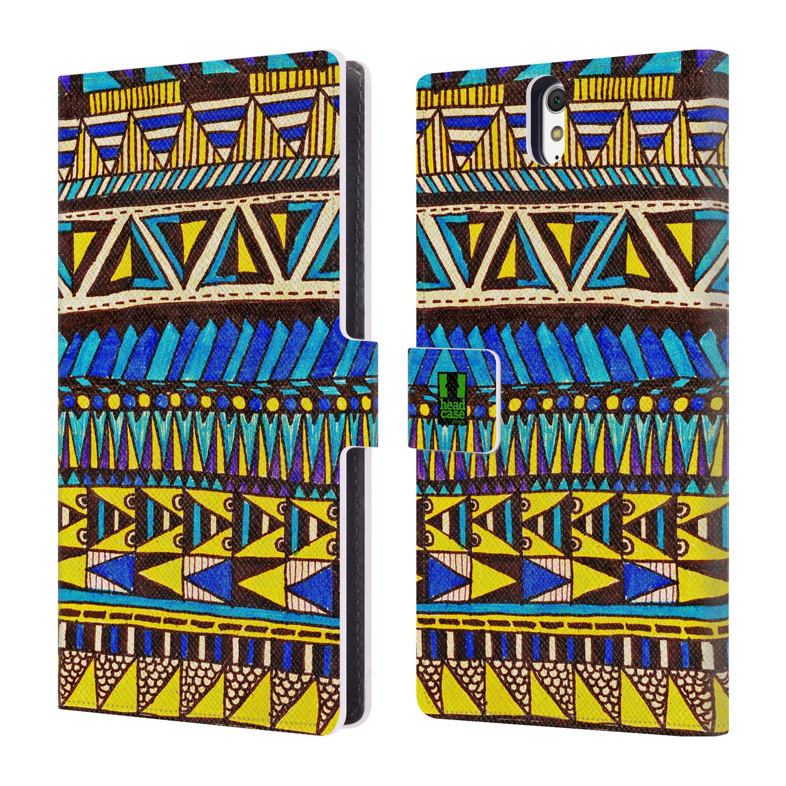 HEAD CASE Flipové pouzdro pro mobil SONY XPERIA C5 Ultra Barevná aztécká čmáranice modrá