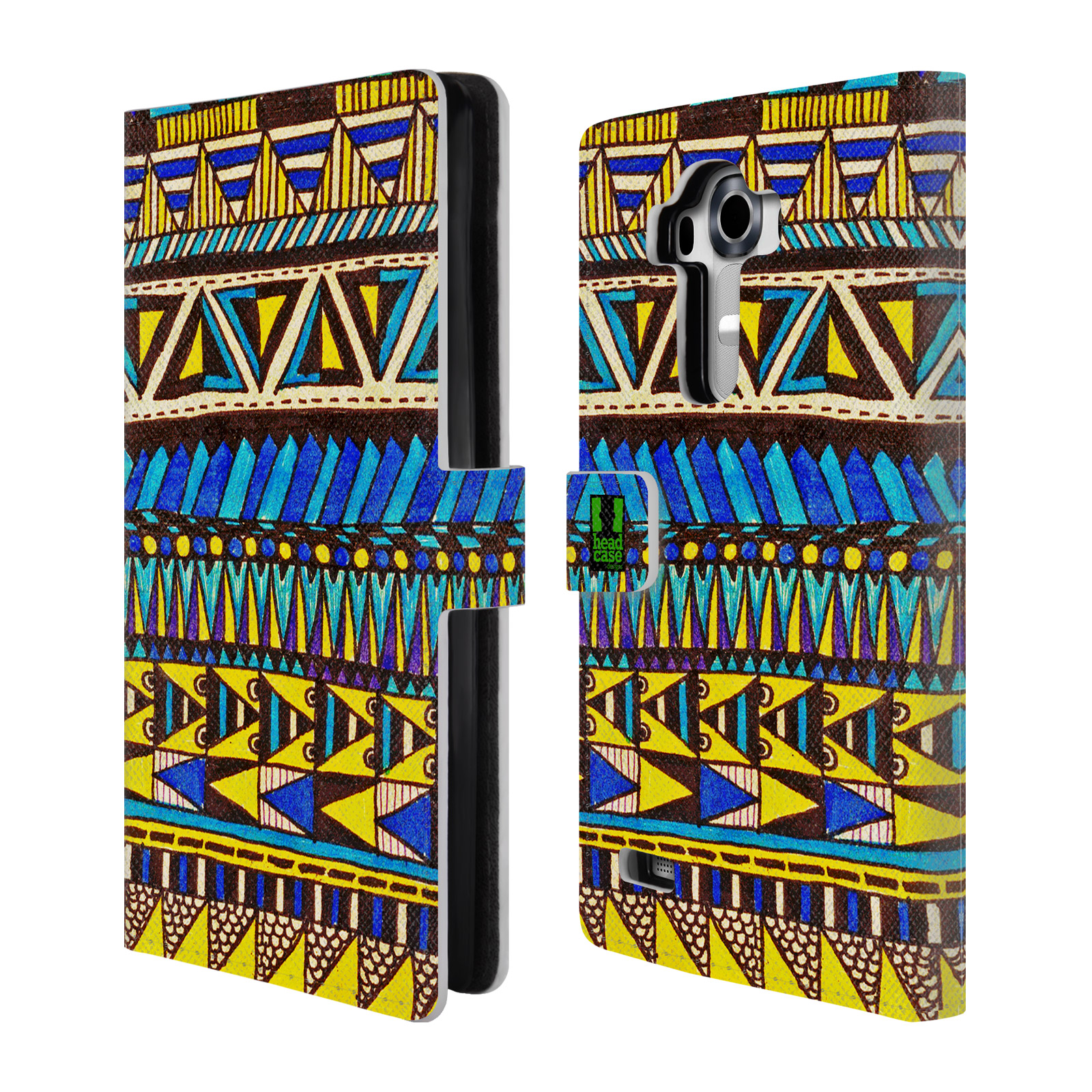 HEAD CASE Flipové pouzdro pro mobil LG G4 (H815) Barevná aztécká čmáranice modrá