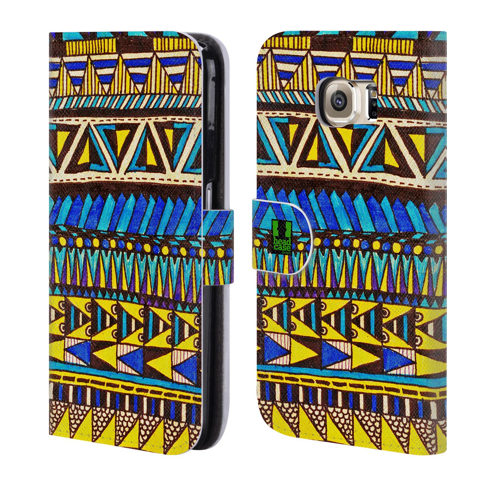 HEAD CASE Flipové pouzdro pro mobil Samsung Galaxy S6 (G9200) Barevná aztécká čmáranice modrá