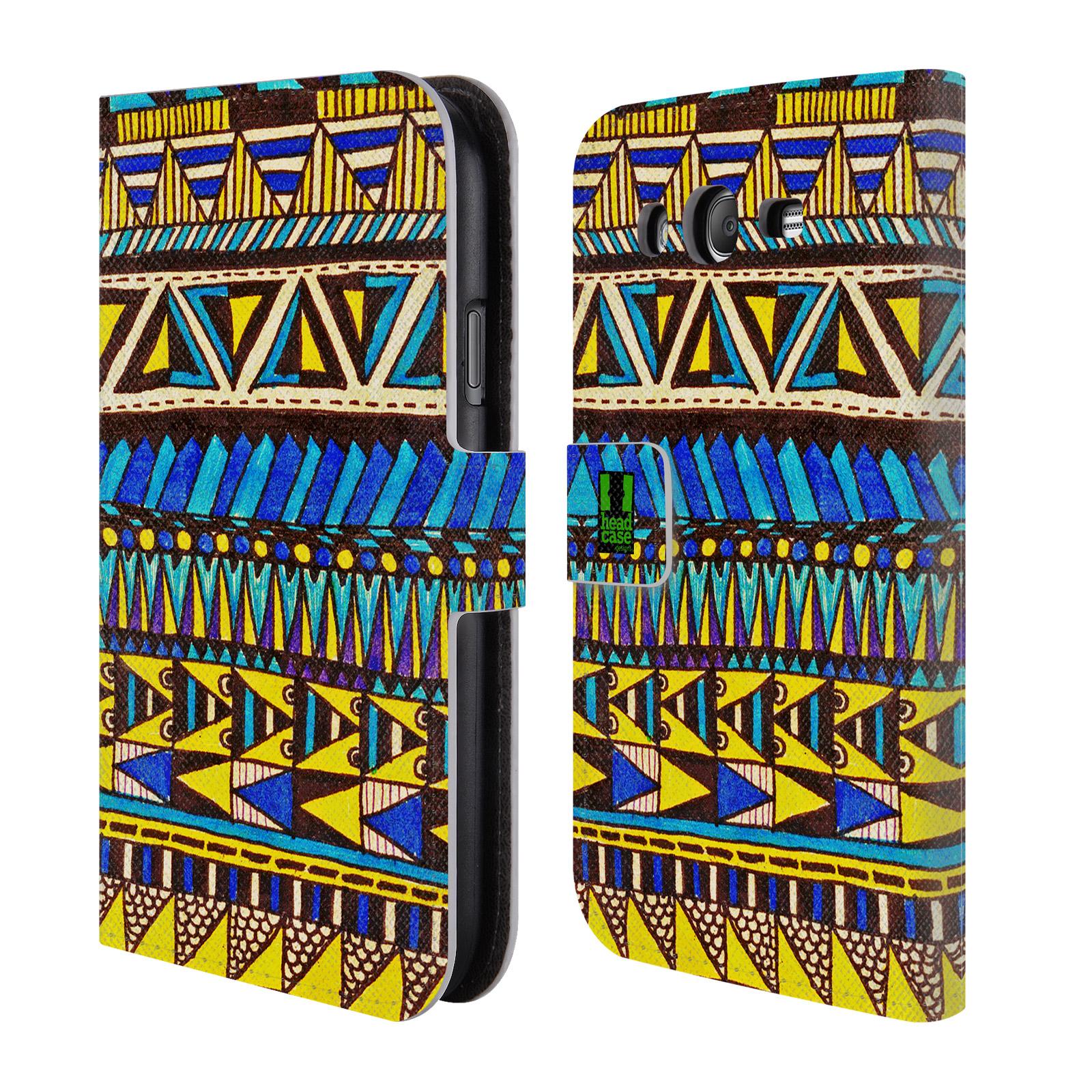 HEAD CASE Flipové pouzdro pro mobil Samsung Galaxy Grand i9080 Barevná aztécká čmáranice modrá