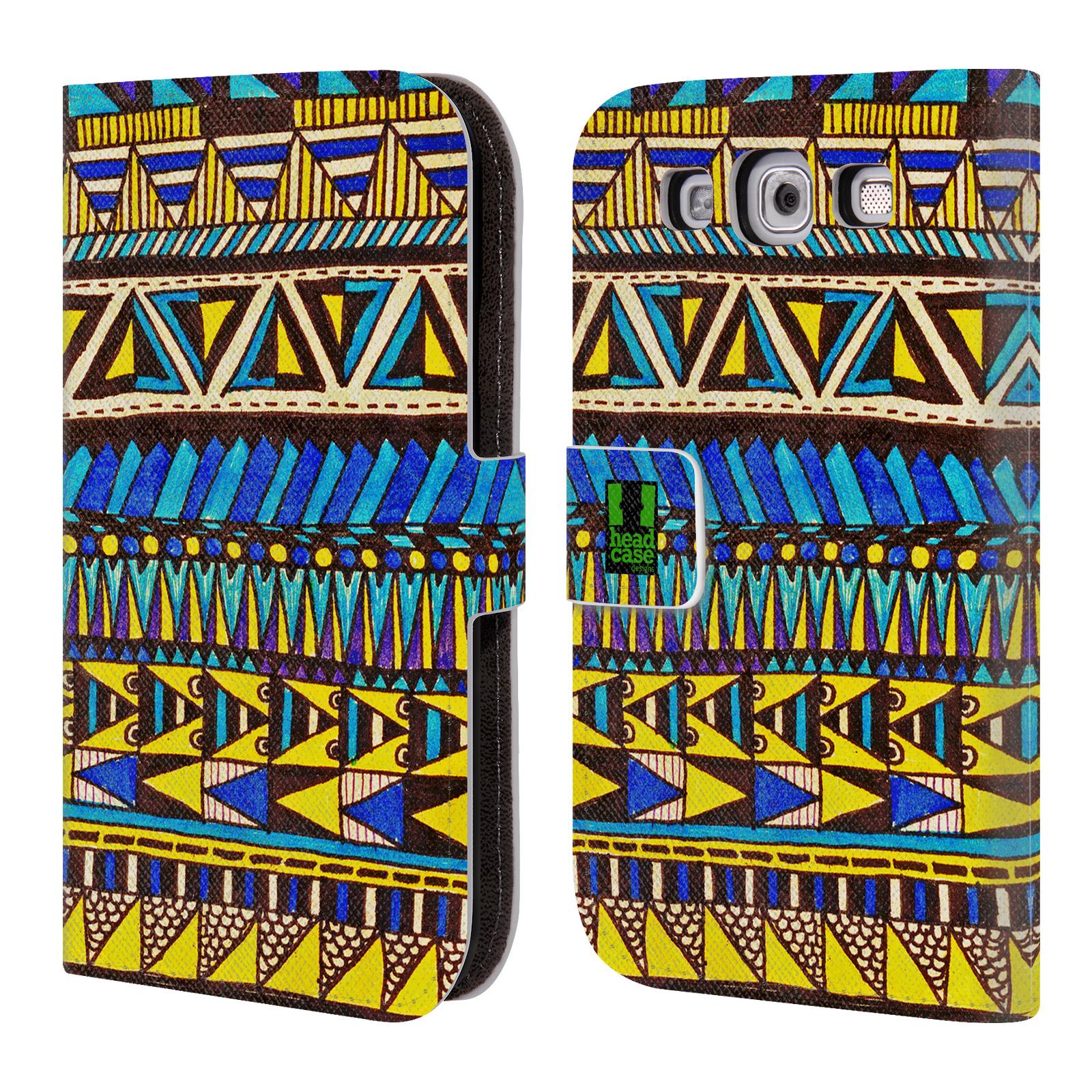 HEAD CASE Flipové pouzdro pro mobil Samsung Galaxy S3 Barevná aztécká čmáranice modrá