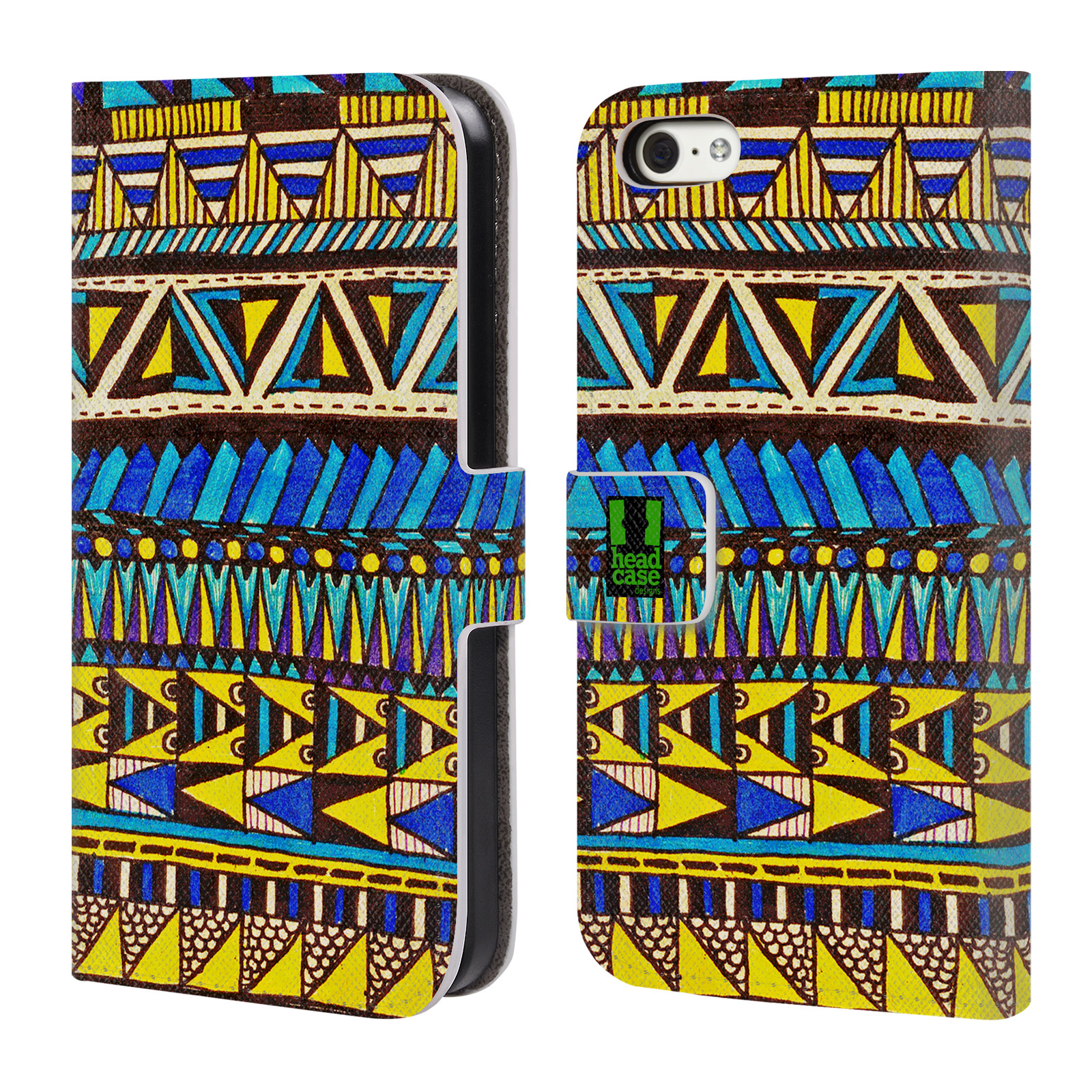 HEAD CASE Flipové pouzdro pro mobil Apple Iphone 5C Barevná aztécká čmáranice modrá
