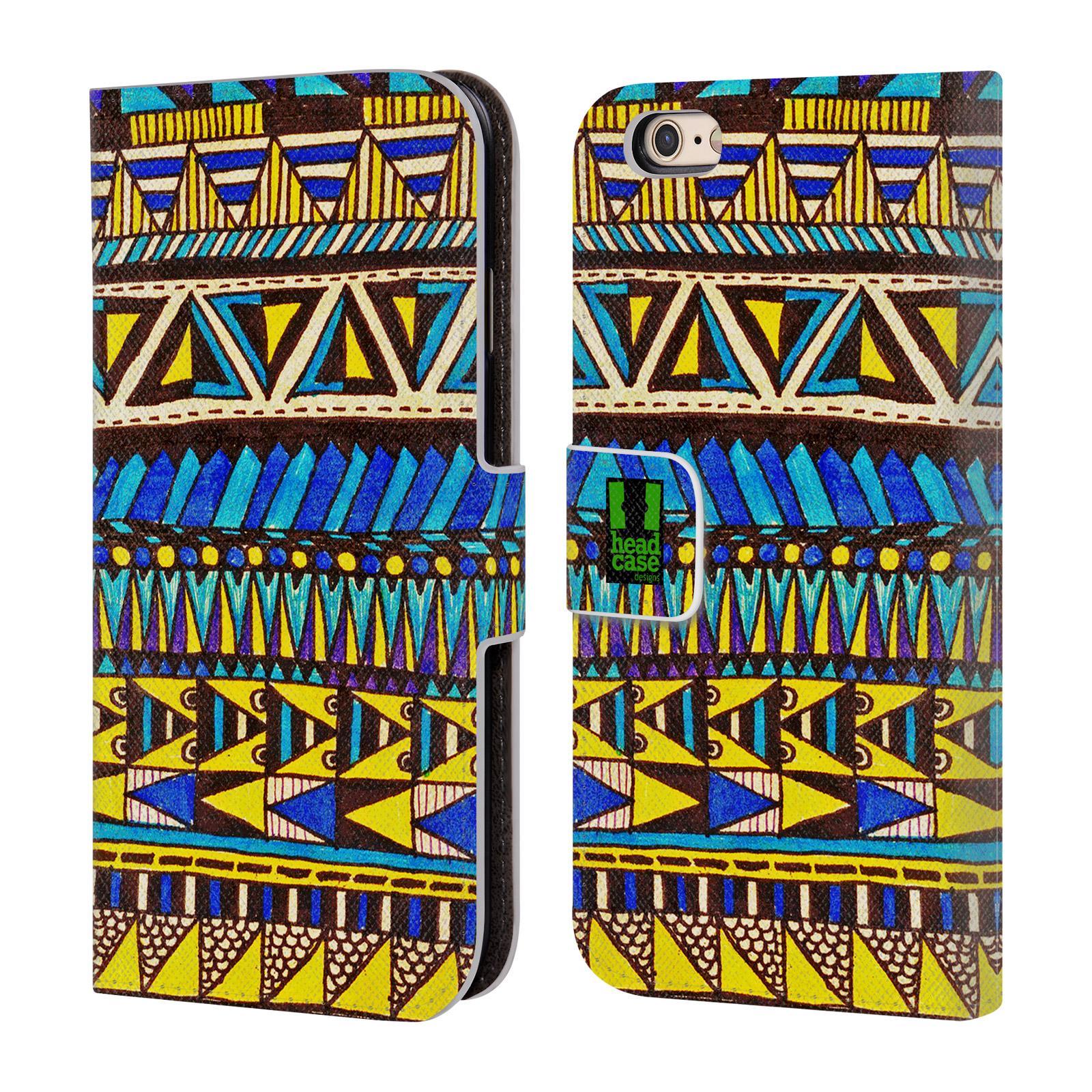 HEAD CASE Flipové pouzdro pro mobil Apple Iphone 6/6s Barevná aztécká čmáranice modrá