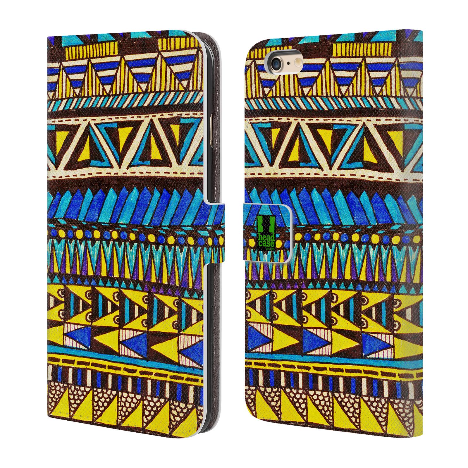 HEAD CASE Flipové pouzdro pro mobil Apple Iphone 6 PLUS / 6S PLUS Barevná aztécká čmáranice modrá