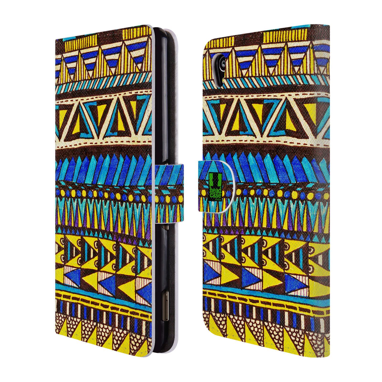 HEAD CASE Flipové pouzdro pro mobil SONY XPERIA M4 AQUA Barevná aztécká čmáranice modrá