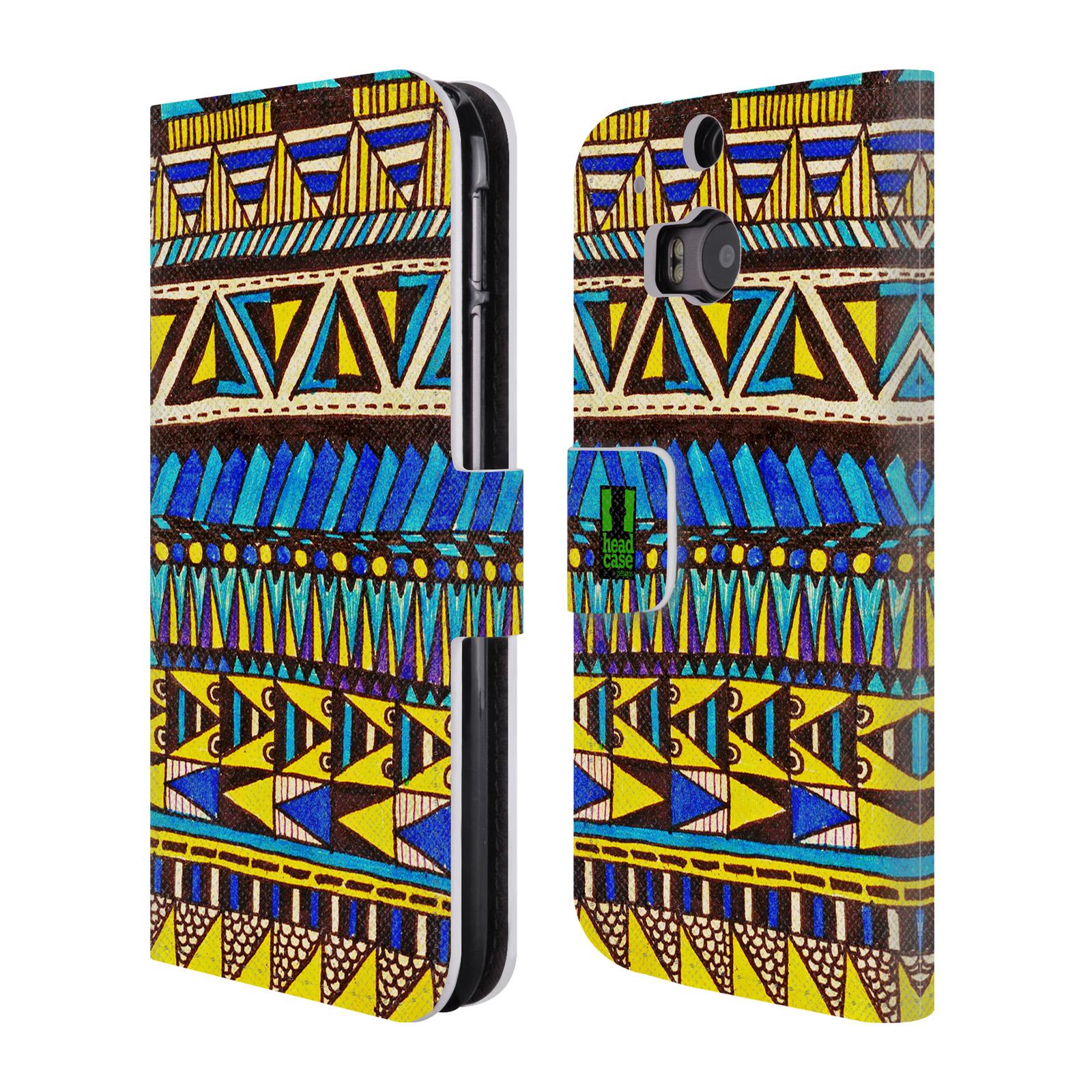 HEAD CASE Flipové pouzdro pro mobil HTC ONE (M8, M8s) Barevná aztécká čmáranice modrá