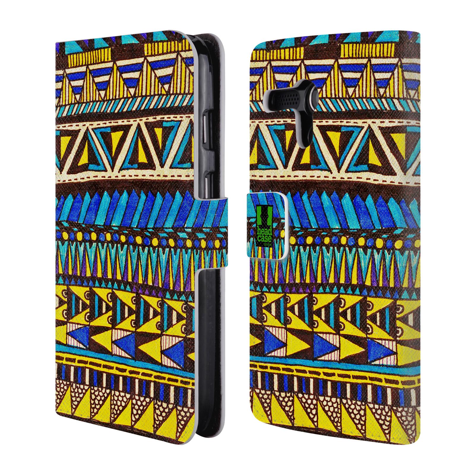 HEAD CASE Flipové pouzdro pro mobil MOTOROLA MOTO G Barevná aztécká čmáranice modrá