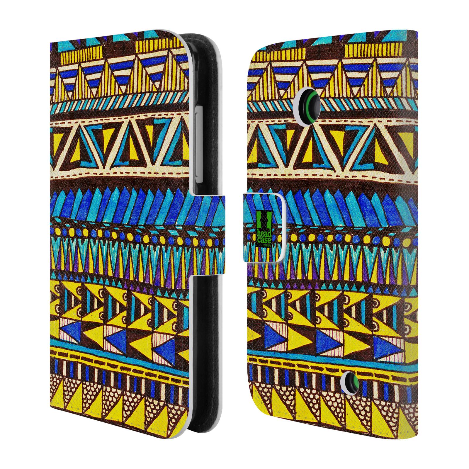 HEAD CASE Flipové pouzdro pro mobil NOKIA LUMIA 630 / LUMIA 630 DUAL Barevná aztécká čmáranice modrá