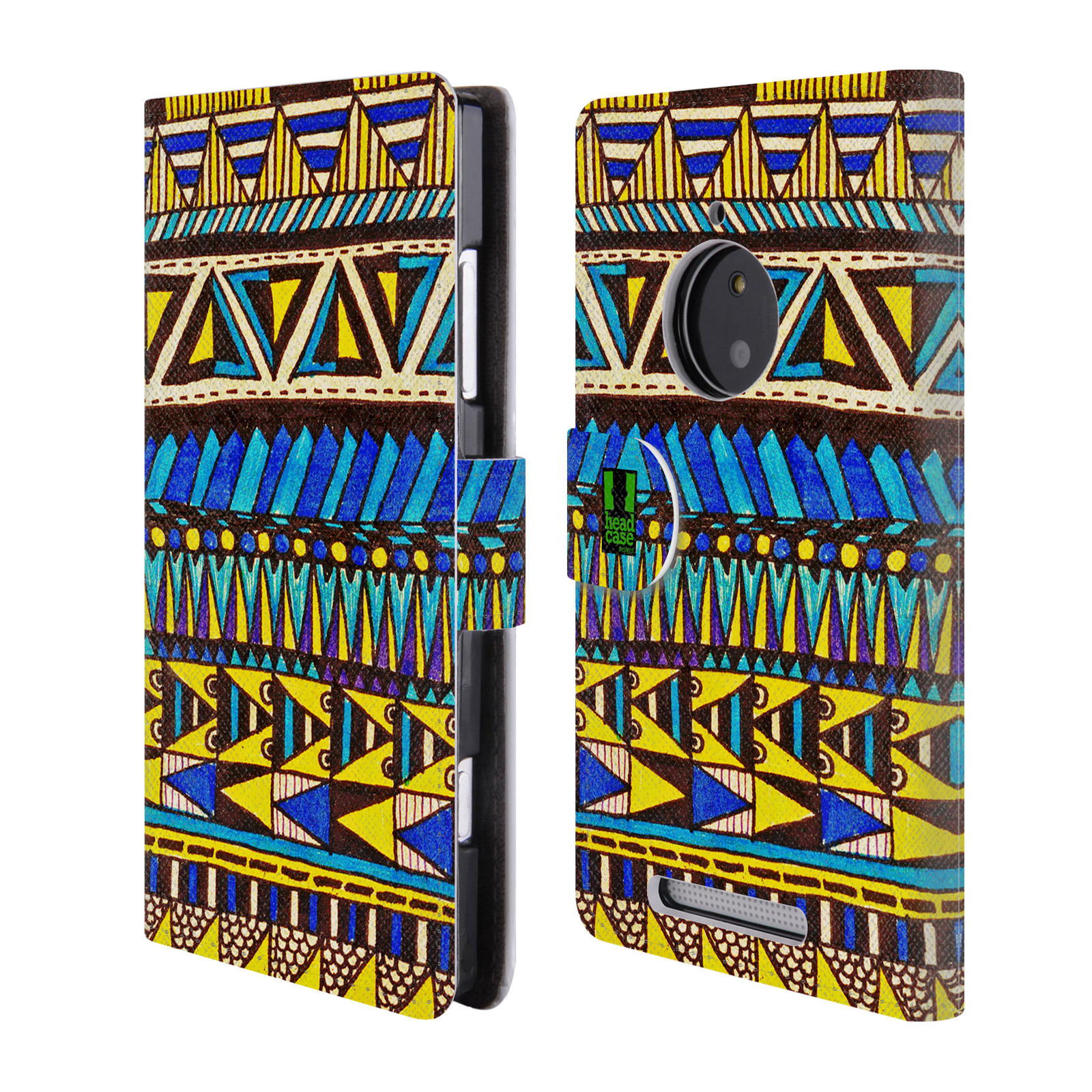 HEAD CASE Flipové pouzdro pro mobil NOKIA LUMIA 830 Barevná aztécká čmáranice modrá