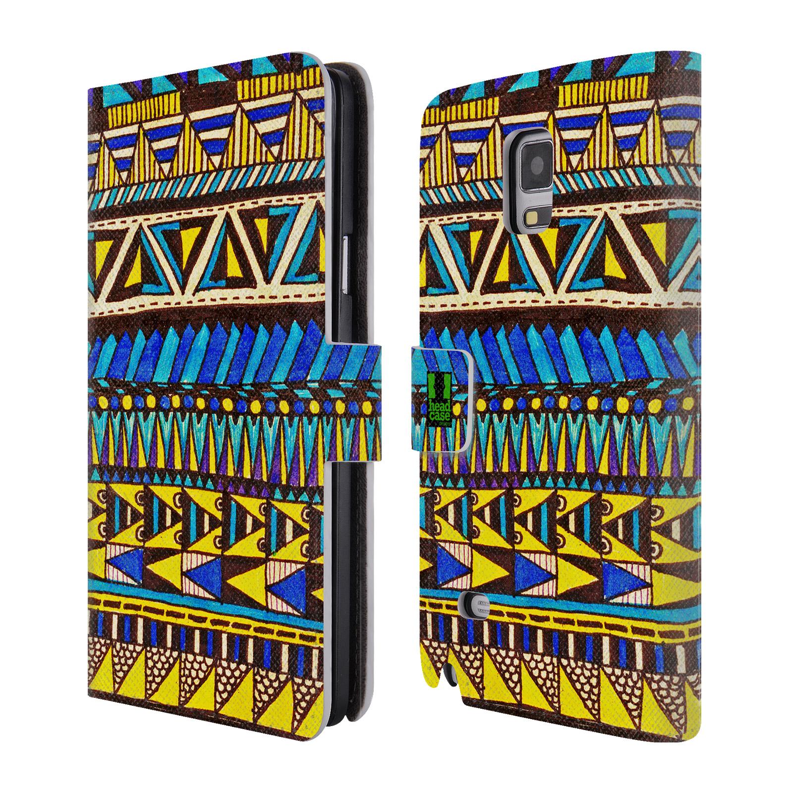 HEAD CASE Flipové pouzdro pro mobil Samsung Galaxy Note 4 Barevná aztécká čmáranice modrá