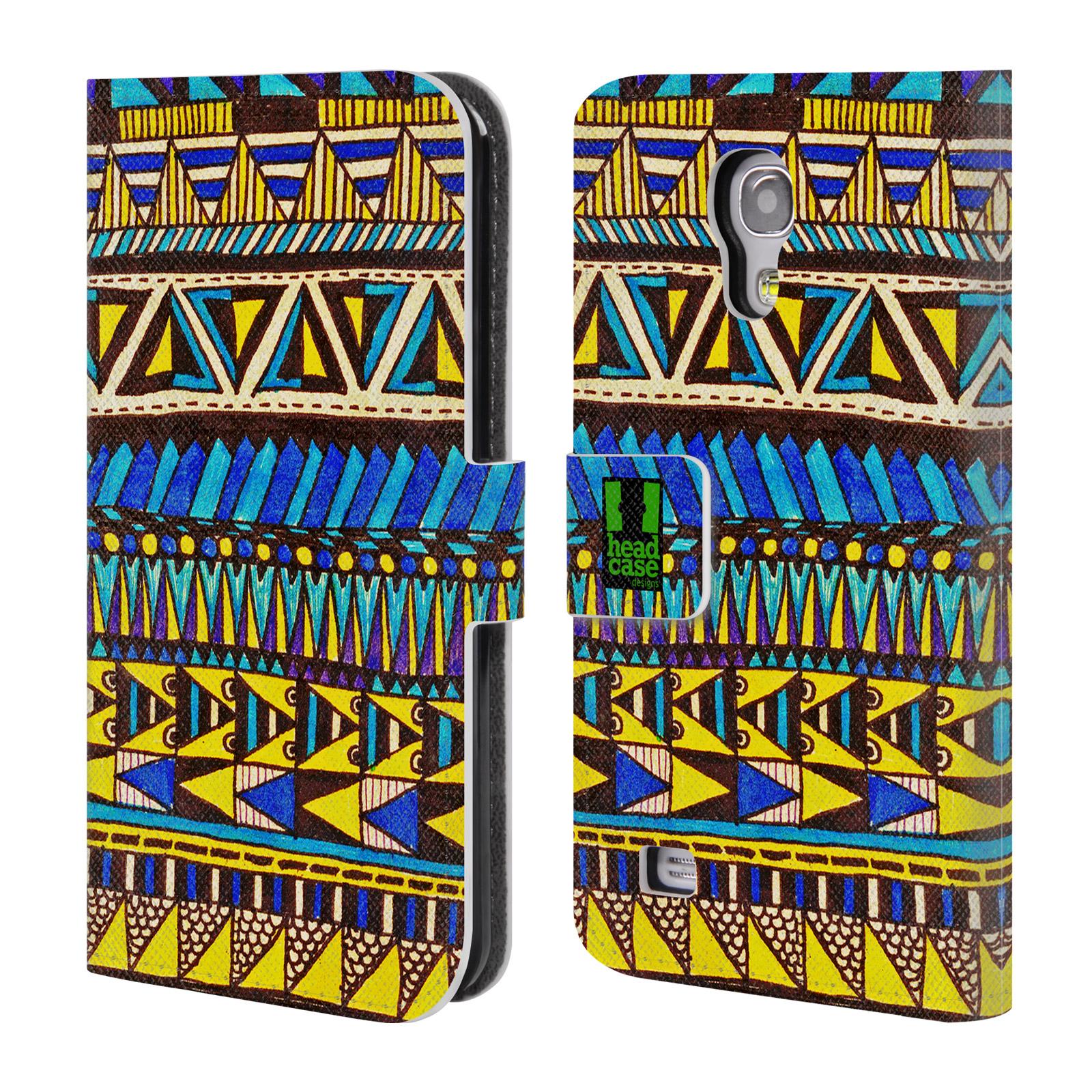 HEAD CASE Flipové pouzdro pro mobil Samsung Galaxy S4 MINI / S4 MINI DUOS Barevná aztécká čmáranice modrá