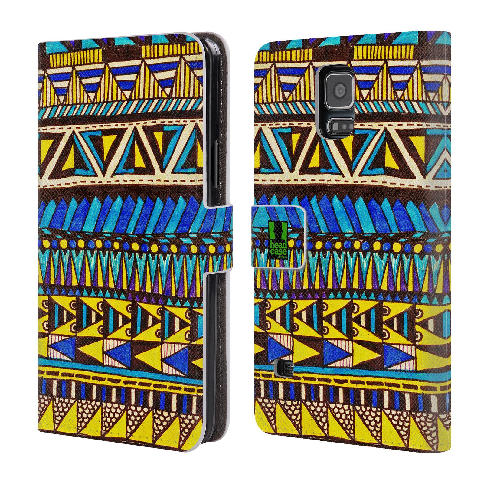 HEAD CASE Flipové pouzdro pro mobil Samsung Galaxy S5 / S5 NEO Barevná aztécká čmáranice modrá