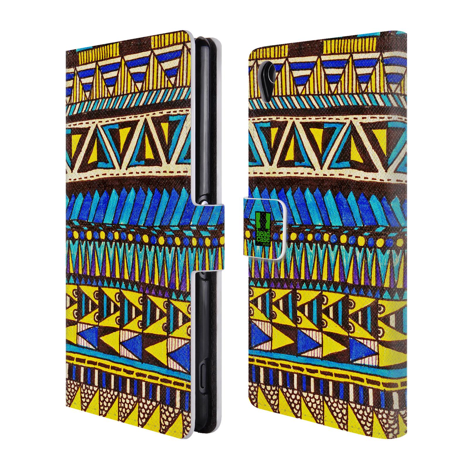 HEAD CASE Flipové pouzdro pro mobil SONY XPERIA Z3 Barevná aztécká čmáranice modrá