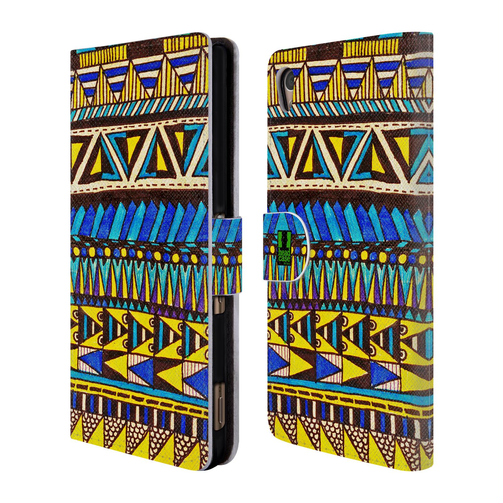 HEAD CASE Flipové pouzdro pro mobil SONY XPERIA Z3+ (PLUS) Barevná aztécká čmáranice modrá