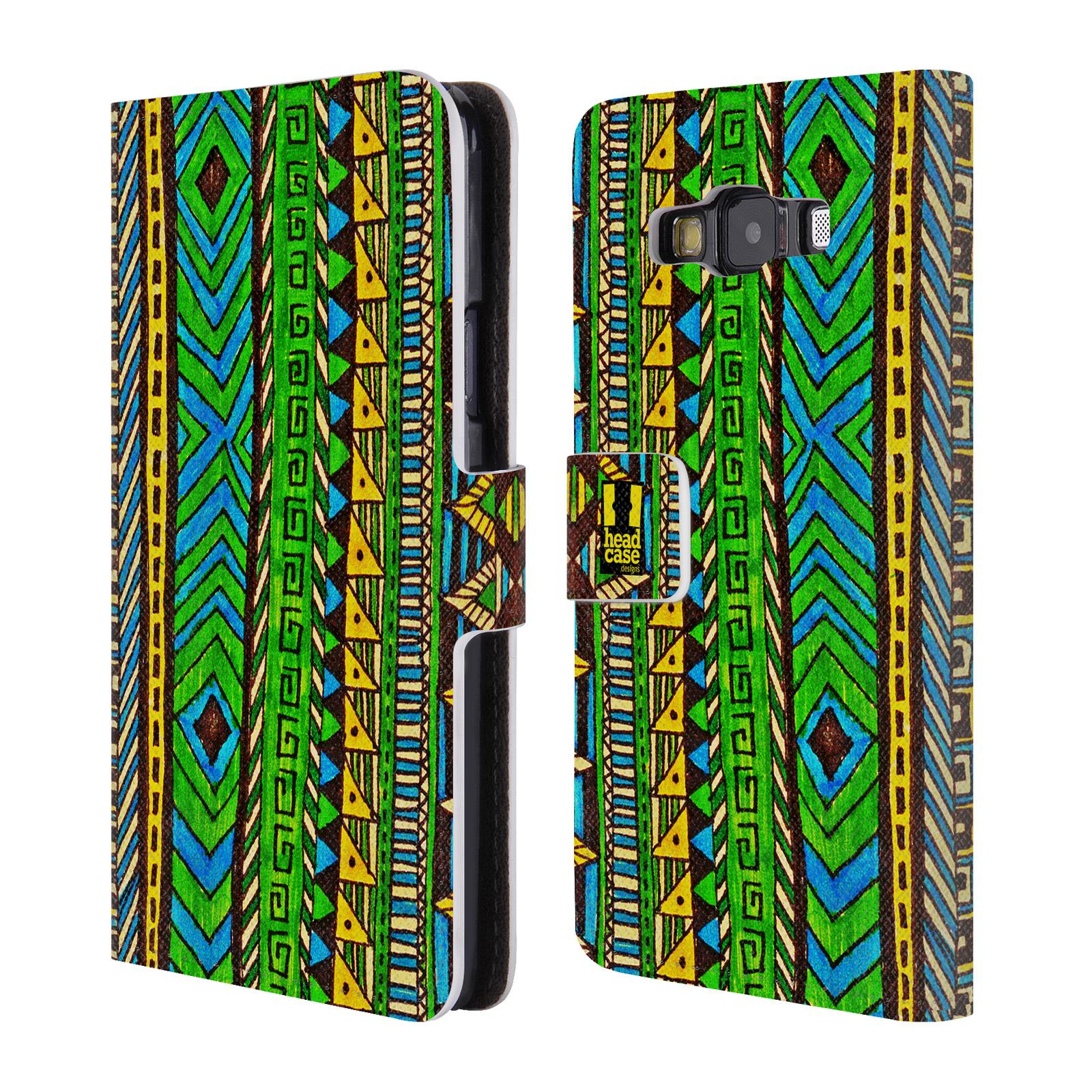 HEAD CASE Flipové pouzdro pro mobil Samsung Galaxy A3 Barevná aztécká čmáranice zelená