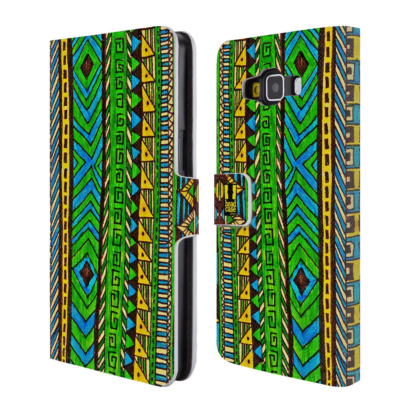 HEAD CASE Flipové pouzdro pro mobil Samsung Galaxy A5 Barevná aztécká čmáranice zelená