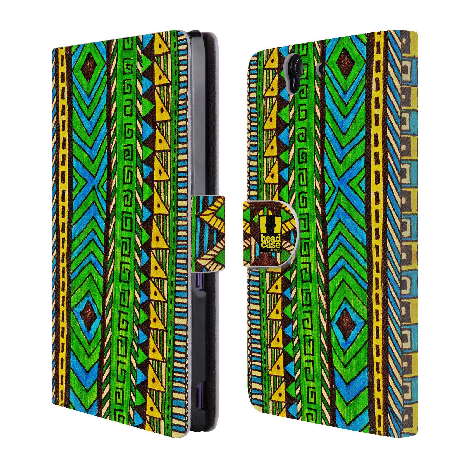 HEAD CASE Flipové pouzdro pro mobil SONY XPERIA Z (C6603) Barevná aztécká čmáranice zelená