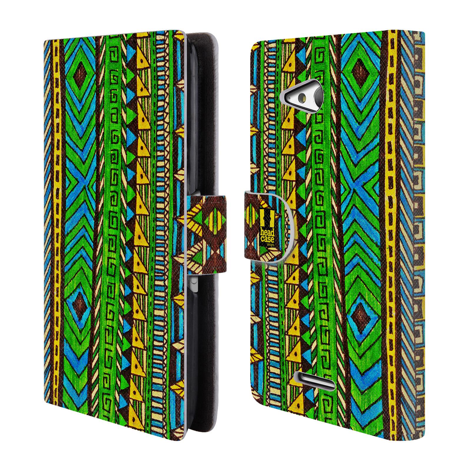 HEAD CASE Flipové pouzdro pro mobil SONY XPERIA E4g Barevná aztécká čmáranice zelená