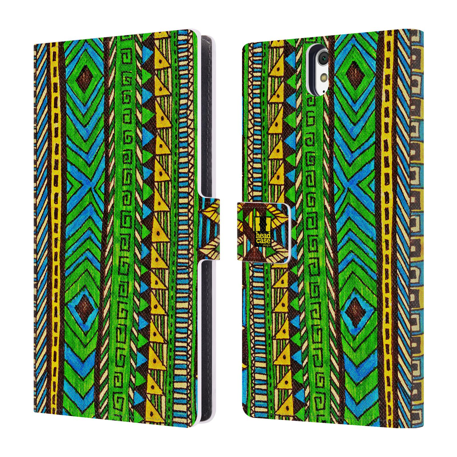 HEAD CASE Flipové pouzdro pro mobil SONY XPERIA C5 Ultra Barevná aztécká čmáranice zelená