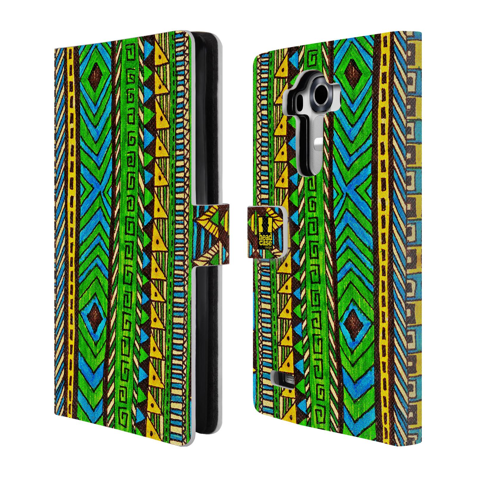 HEAD CASE Flipové pouzdro pro mobil LG G4 (H815) Barevná aztécká čmáranice zelená