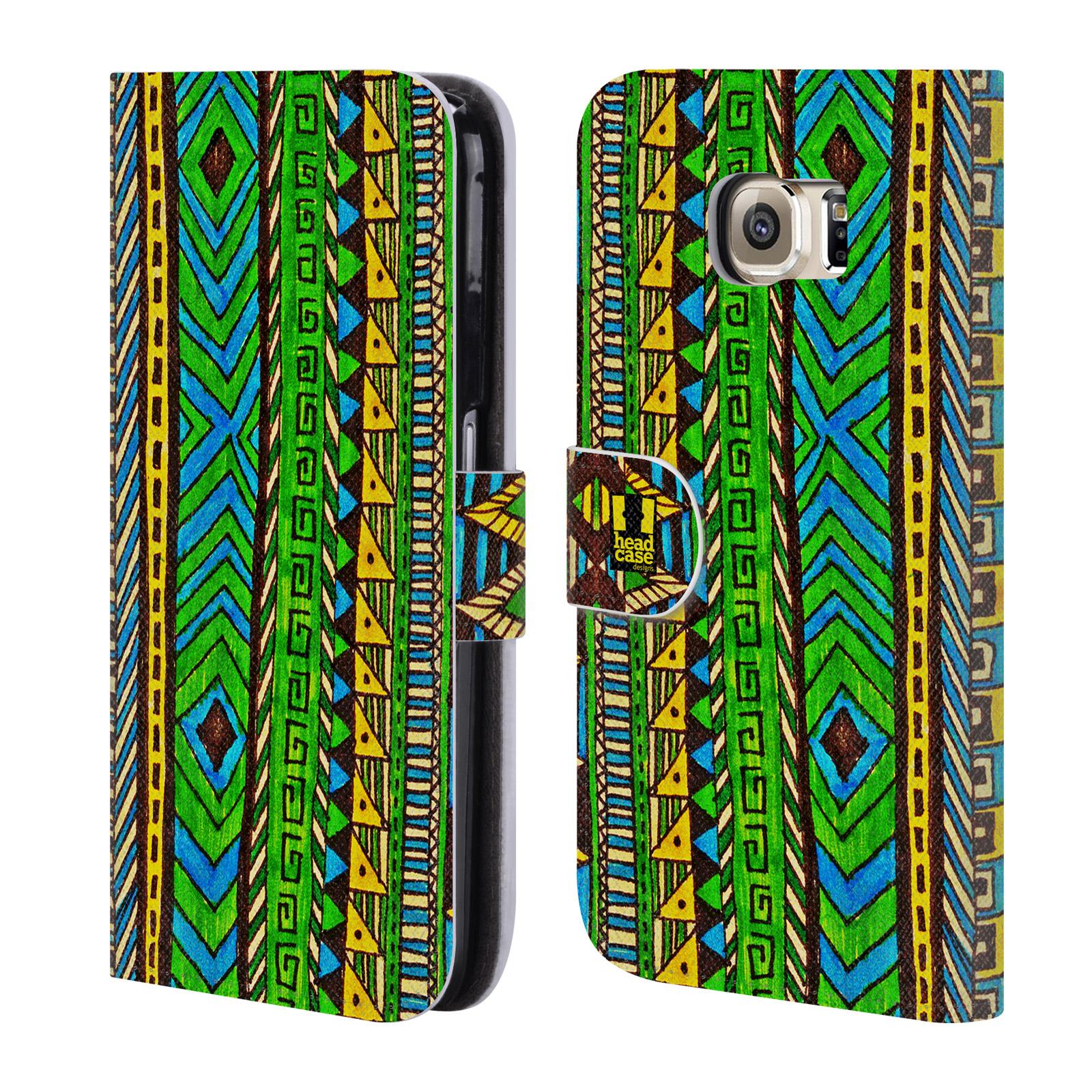 HEAD CASE Flipové pouzdro pro mobil Samsung Galaxy S6 (G9200) Barevná aztécká čmáranice zelená
