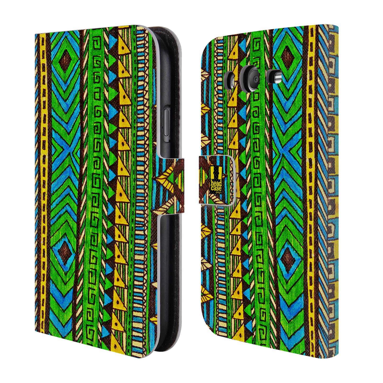 HEAD CASE Flipové pouzdro pro mobil Samsung Galaxy Grand i9080 Barevná aztécká čmáranice zelená