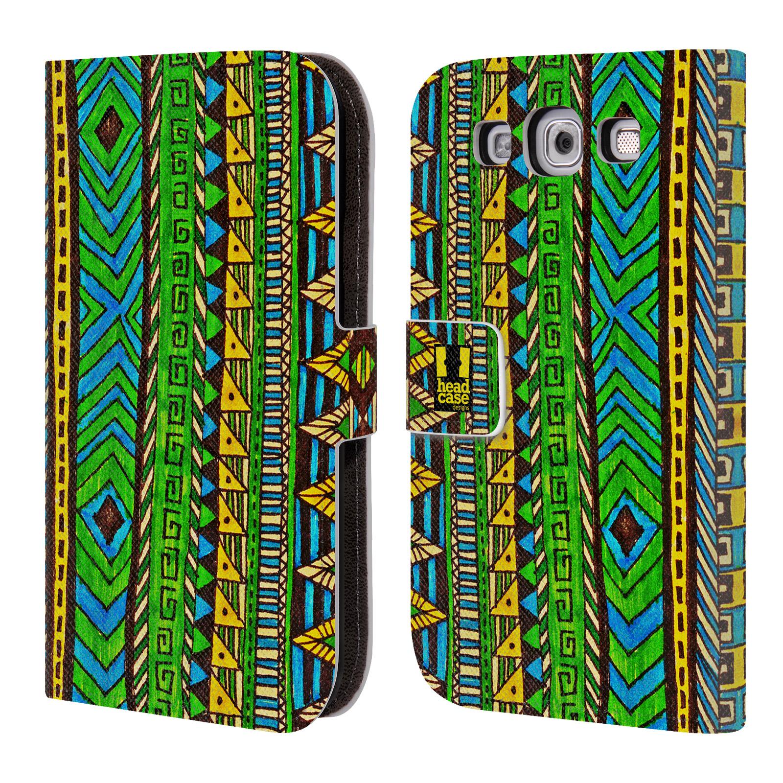 HEAD CASE Flipové pouzdro pro mobil Samsung Galaxy S3 Barevná aztécká čmáranice zelená