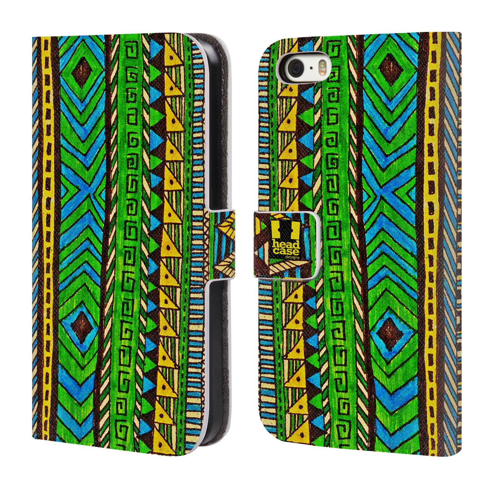 HEAD CASE Flipové pouzdro pro mobil Apple Iphone 5/5s Barevná aztécká čmáranice zelená