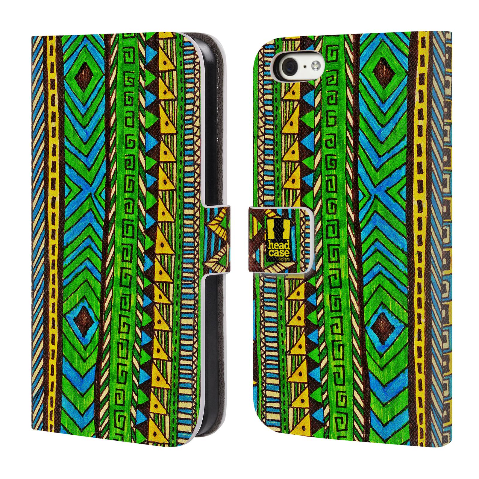 HEAD CASE Flipové pouzdro pro mobil Apple Iphone 5C Barevná aztécká čmáranice zelená