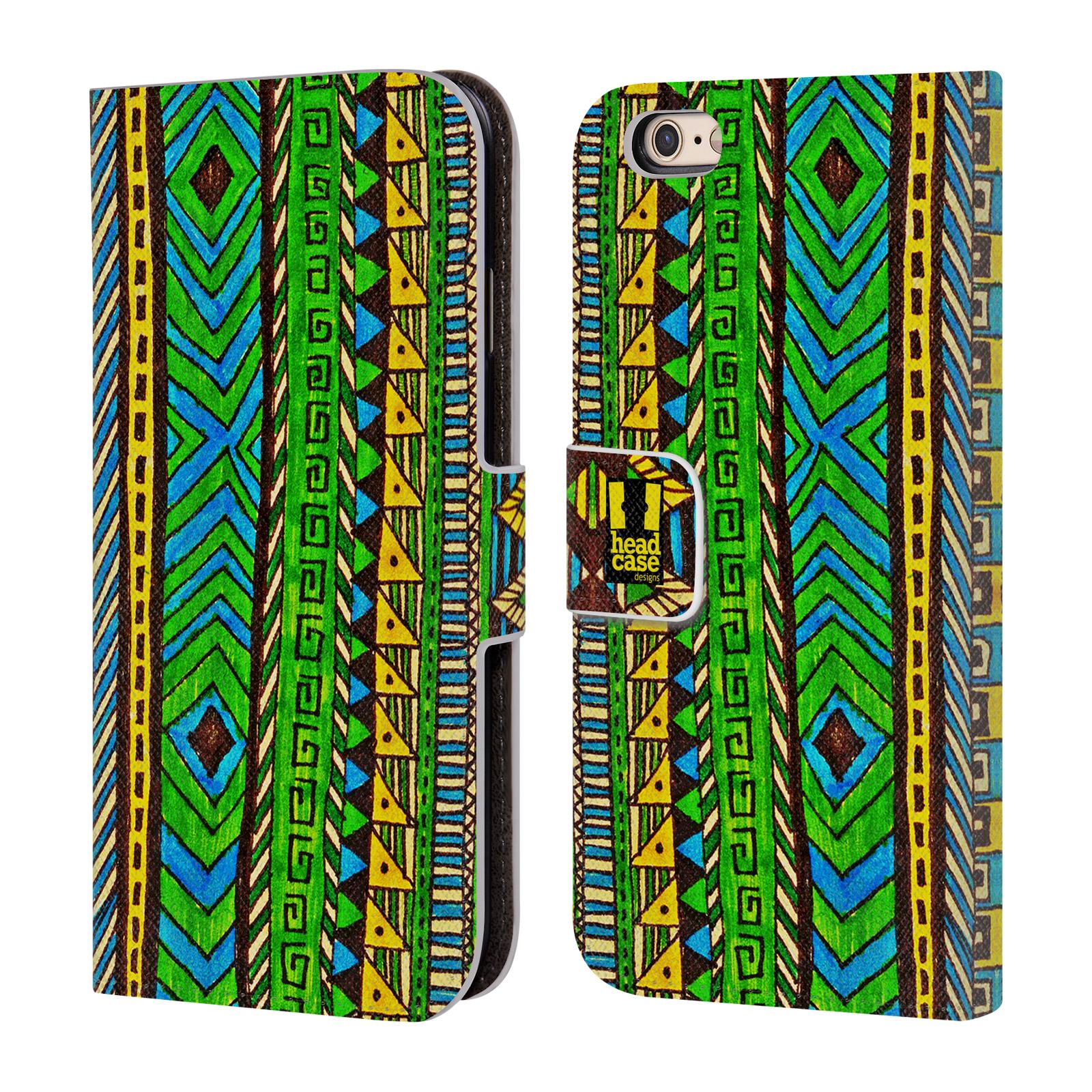HEAD CASE Flipové pouzdro pro mobil Apple Iphone 6/6s Barevná aztécká čmáranice zelená