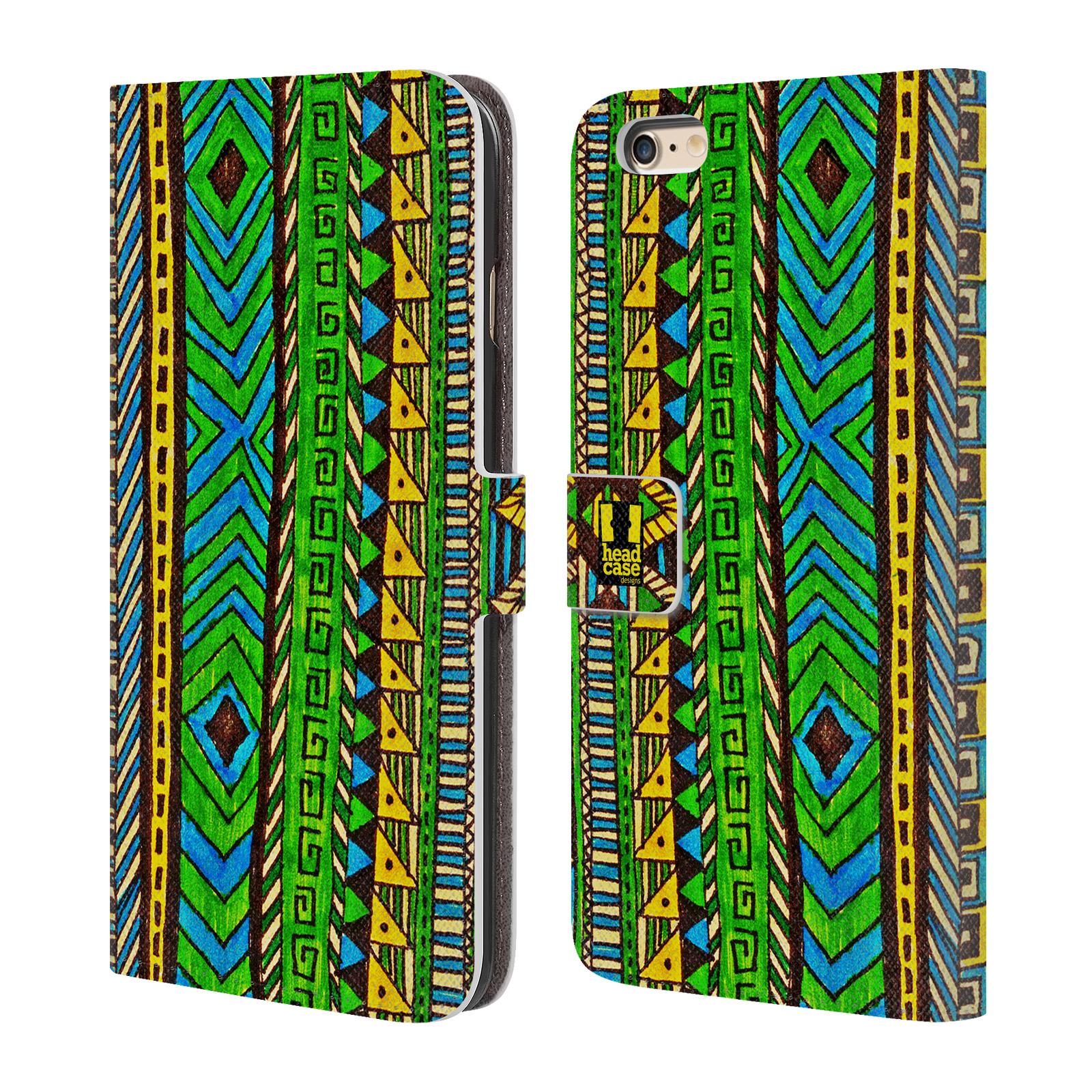HEAD CASE Flipové pouzdro pro mobil Apple Iphone 6 PLUS / 6S PLUS Barevná aztécká čmáranice zelená