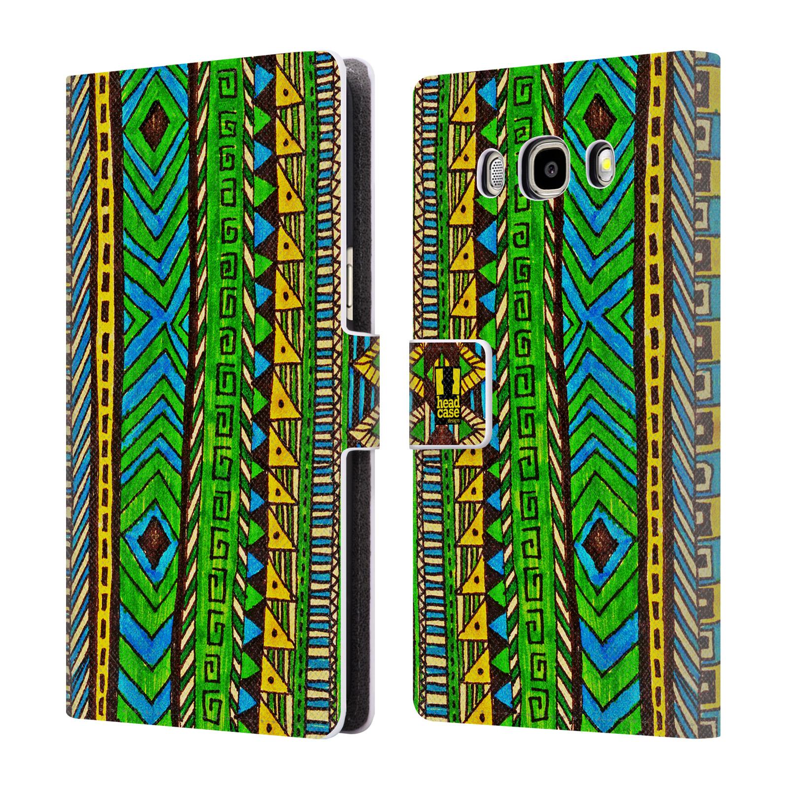 HEAD CASE Flipové pouzdro pro mobil Samsung Galaxy J5 2016 Barevná aztécká čmáranice zelená