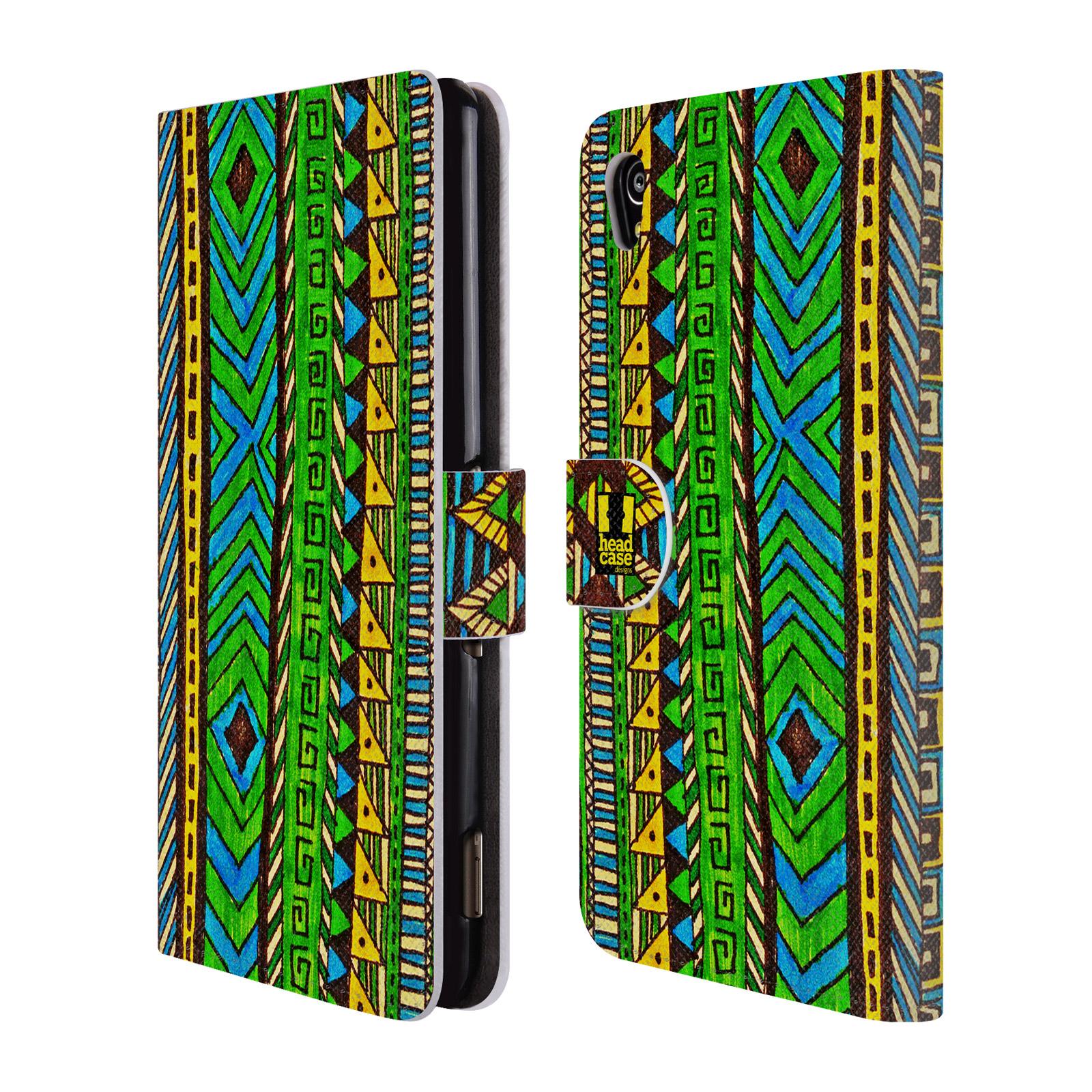 HEAD CASE Flipové pouzdro pro mobil SONY XPERIA M4 AQUA Barevná aztécká čmáranice zelená