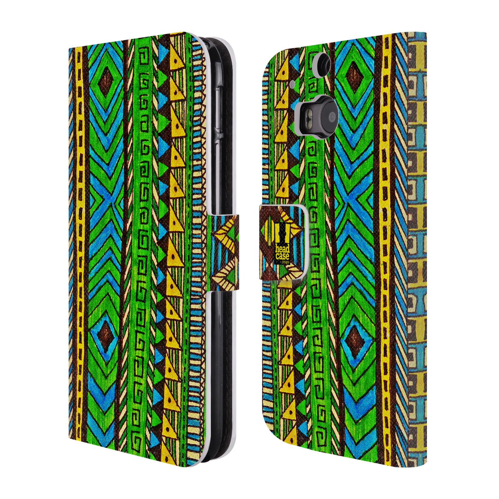 HEAD CASE Flipové pouzdro pro mobil HTC ONE (M8, M8s) Barevná aztécká čmáranice zelená