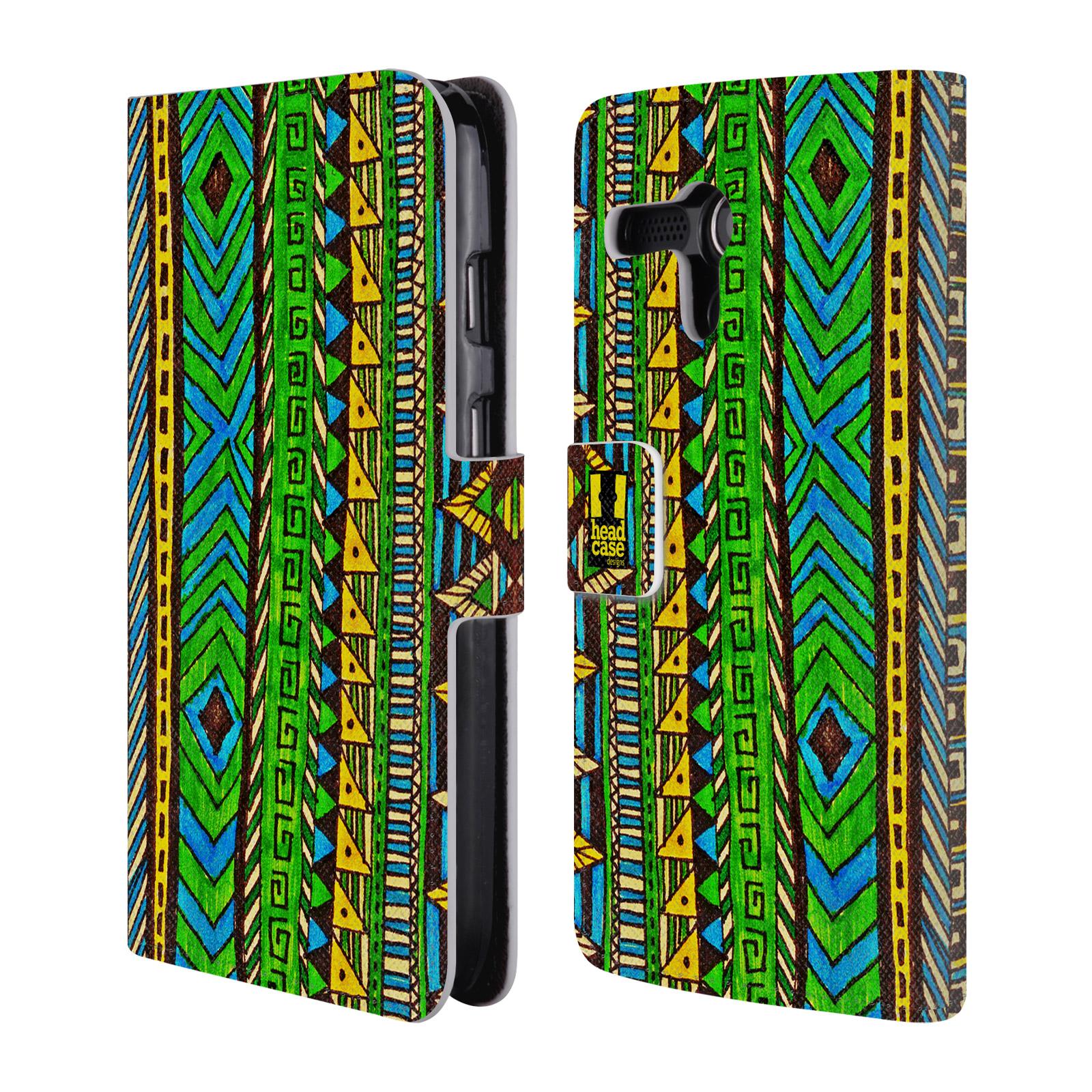 HEAD CASE Flipové pouzdro pro mobil MOTOROLA MOTO G Barevná aztécká čmáranice zelená