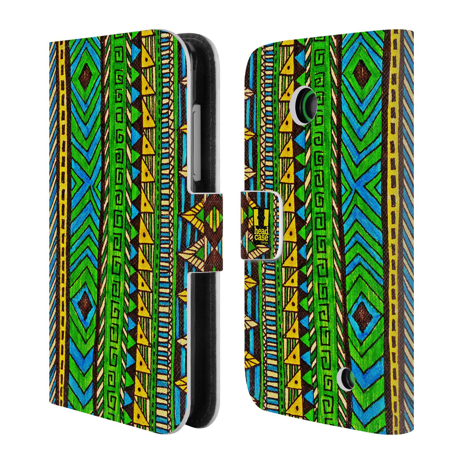 HEAD CASE Flipové pouzdro pro mobil NOKIA LUMIA 630 / LUMIA 630 DUAL Barevná aztécká čmáranice zelená
