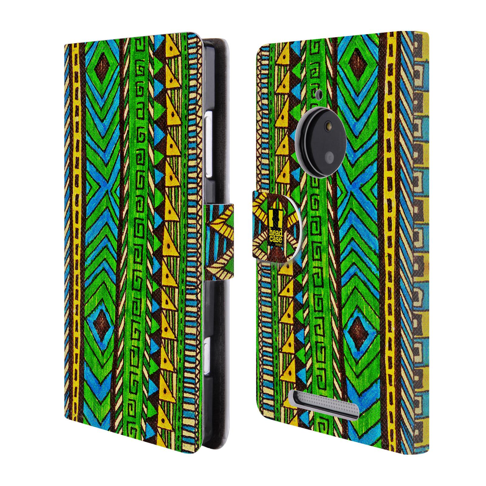 HEAD CASE Flipové pouzdro pro mobil NOKIA LUMIA 830 Barevná aztécká čmáranice zelená