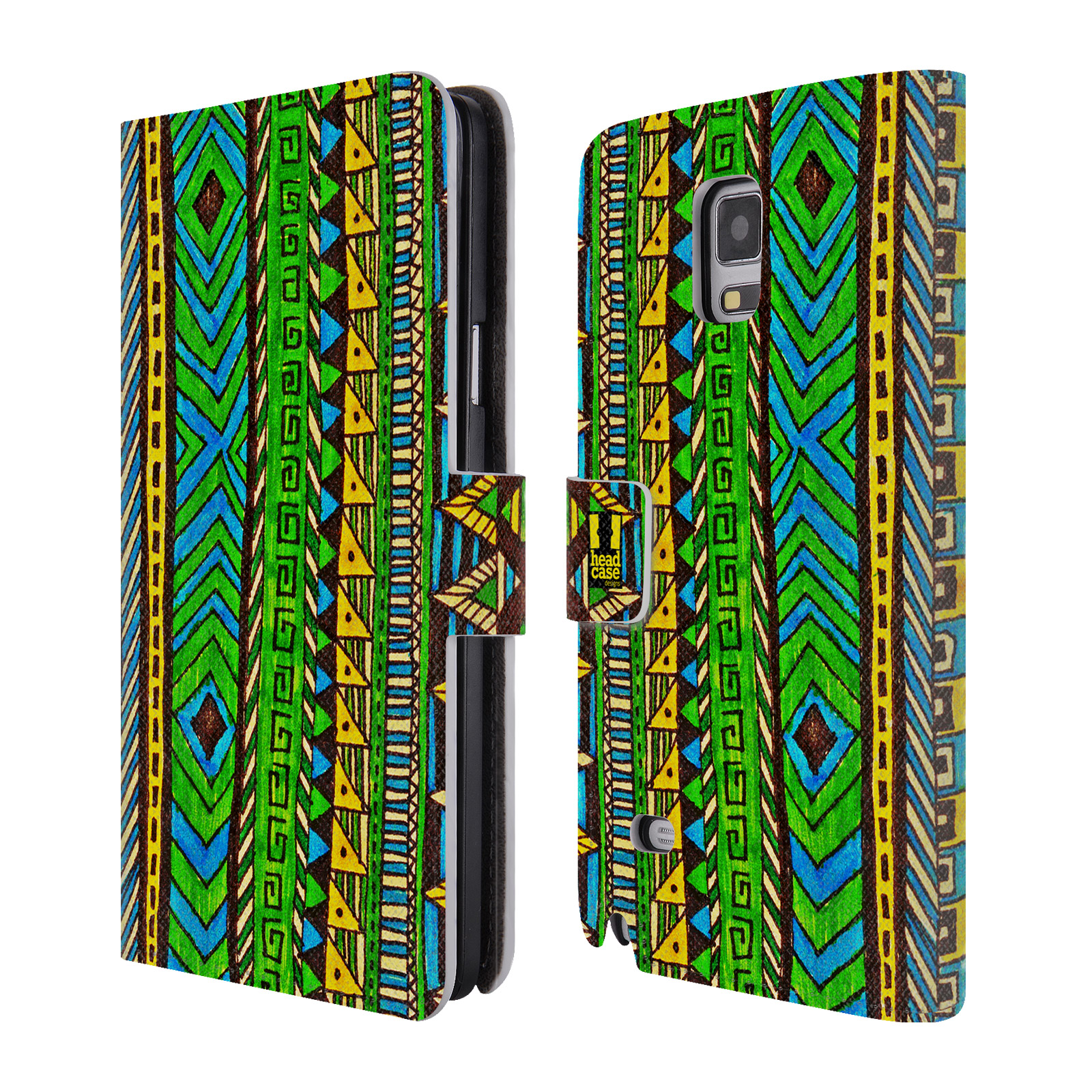HEAD CASE Flipové pouzdro pro mobil Samsung Galaxy Note 4 Barevná aztécká čmáranice zelená