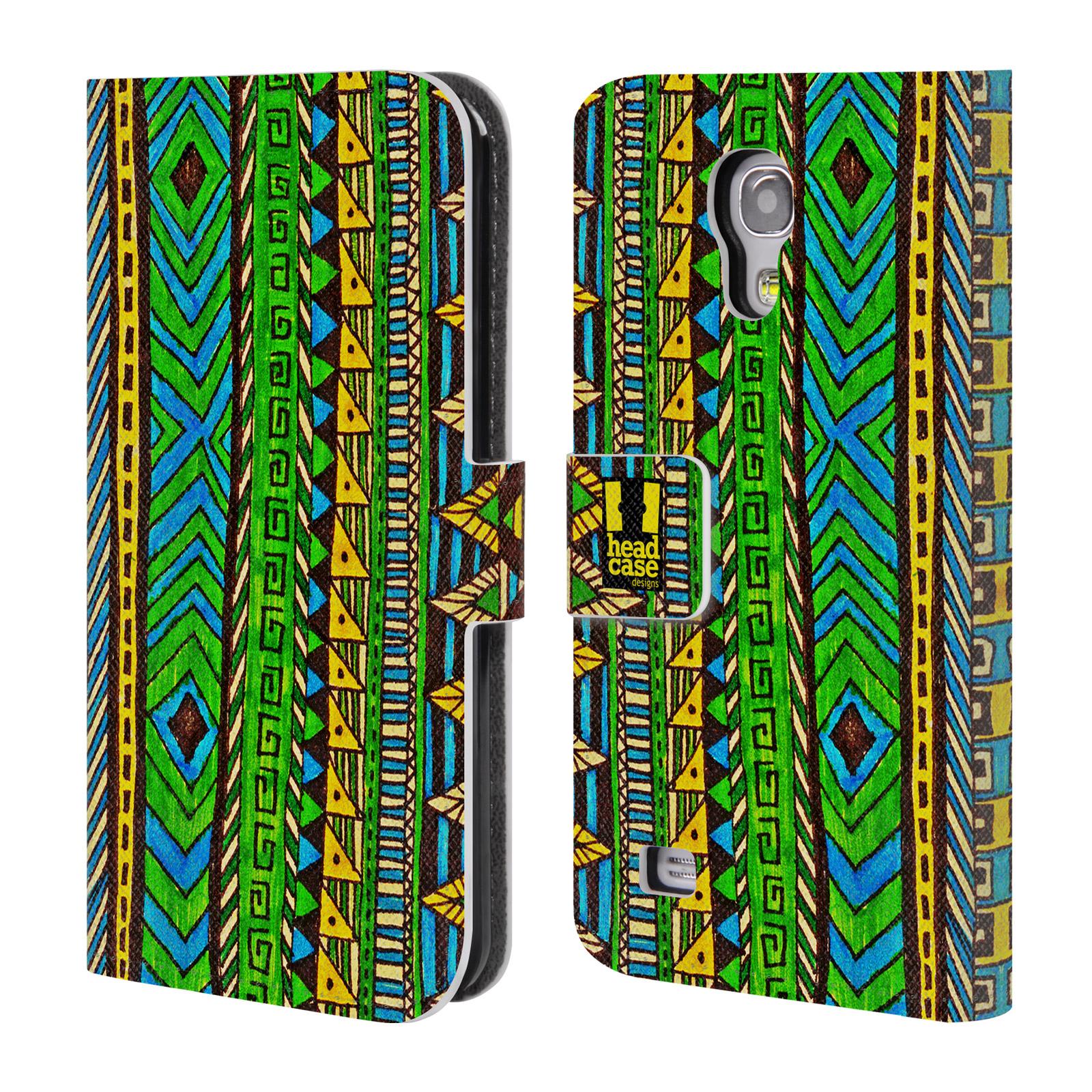 HEAD CASE Flipové pouzdro pro mobil Samsung Galaxy S4 MINI / S4 MINI DUOS Barevná aztécká čmáranice zelená