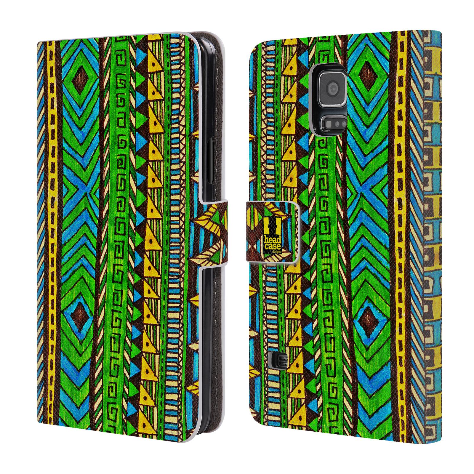 HEAD CASE Flipové pouzdro pro mobil Samsung Galaxy S5 / S5 NEO Barevná aztécká čmáranice zelená